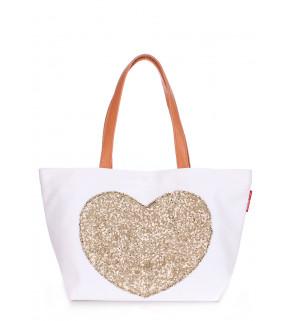 Коттоновая сумка POOLPARTY Love Tote